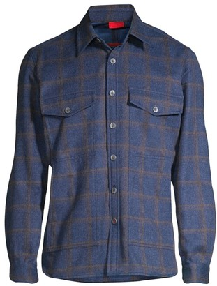 Isaia Plaid Wool & Cashmere Overshirt