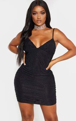 PrettyLittleThing Shape Black Glitter Ruched Side Cup Detail Bodycon Dress