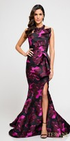 Terani Couture Bold Sparkling Racer Back Printed Evening Dress