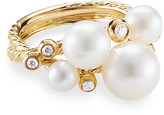 David Yurman 18k Gold Pearl & Diamond Cluster Ring, Size 7