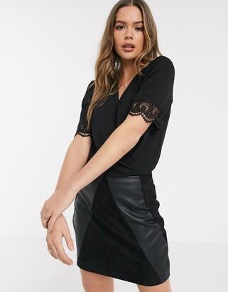 JDY Gretha lace trim short sleeve wrap bodysuit-Black