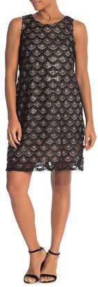 Marina Embroidered Sequin Shift Dress