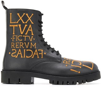 Moschino Roman embroidery military-style boots