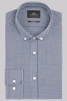 Moss Bros Extra Slim Fit Navy Single Cuff Gingham Button Down Shirt