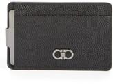 Salvatore Ferragamo Men's 'Ten-Forty One' Leather Money Clip Card Case - Black