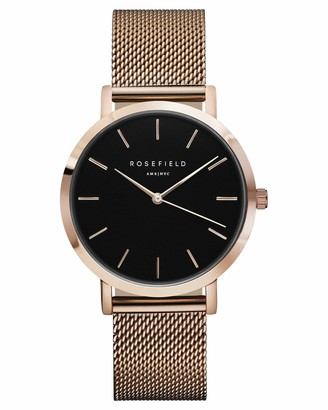ROSEFIELD Women's Watch The Mercer Black Dial Rose Gold Round Case MBR-M45