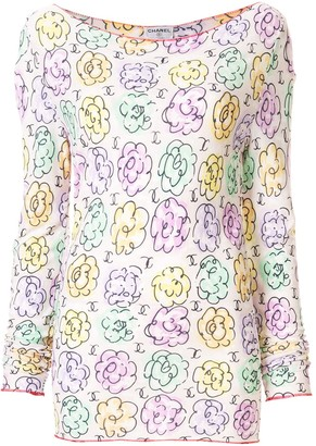 Chanel Pre Owned Floral Print Top