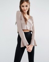 Love V Neck Ribbed Top With Bell Sleeves