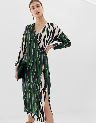 ASOS animal print wrap dress