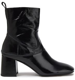 McQ Crinkled Patent-leather Ankle Boots