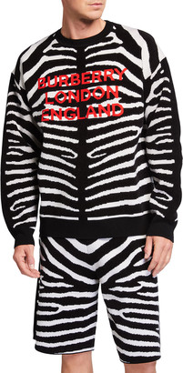 Burberry Men's Jennings Zebra Logo Knit Sweater