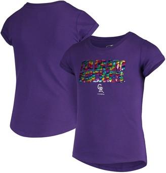 New Era Girls Youth Purple Colorado Rockies Flip Sequin T-Shirt