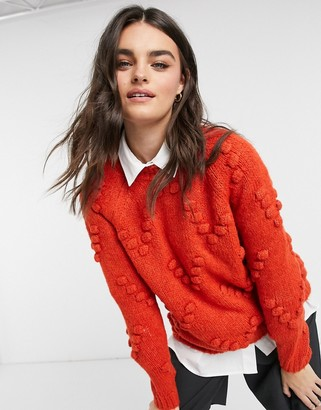 Vero Moda jumper with bobbles in red