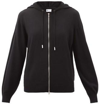Johnstons of Elgin Marla Zipped Wool Hooded Sweater - Black