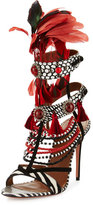 Aquazzura Voodoo Beaded Multi-Strap Sandal, Black/White