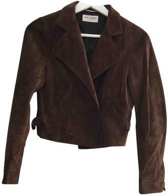 Saint Laurent Brown Leather Jacket for Women