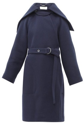 Chloé Cape-collar Belted Wool-blend Coat - Womens - Navy