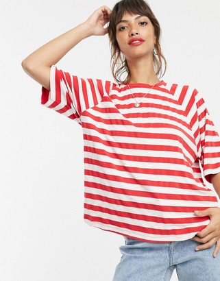 Asos Design DESIGN oversized boxy t-shirt in stripe-Multi