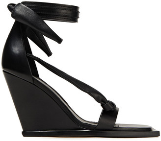 Rick Owens Knotted Leather Wedge Sandals