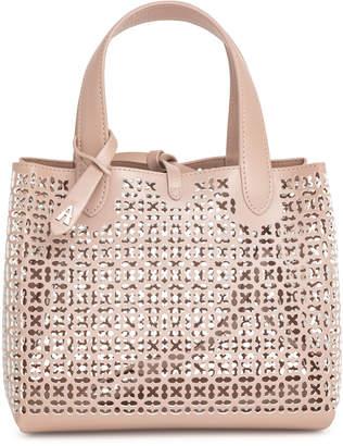 Alaia Frida Mini blush and white laser-cut bag