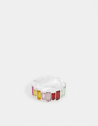 Pieces rainbow emerald cut ring in silver