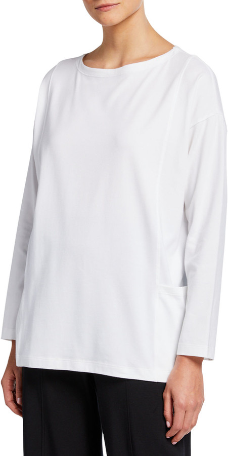 Eileen Fisher Petite Bateau-Neck Long-Sleeve Jersey Pocket Top