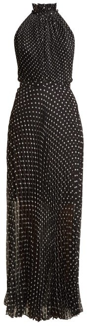 Raquel Diniz Giovanna Pleated Polka-dot Silk Dress - Womens - Black White