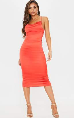 PrettyLittleThing Red Lace Back Stretch Satin Midi Dress
