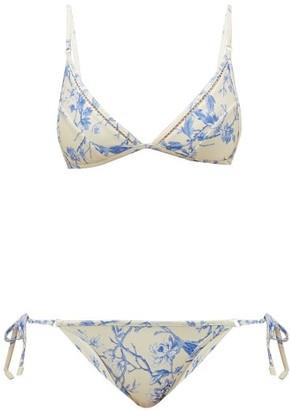 Zimmermann Verity Floral-print Bikini - Womens - White