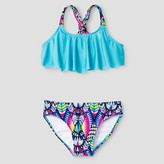 Xhilaration Girls' Tribal Flounce Bikini Set Blue