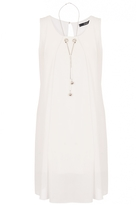 Quiz Cream Chiffon Necklace Tunic Dress