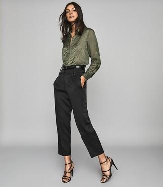 Reiss Lucinda - Silk Blend Burnout Pattern Blouse in Khaki