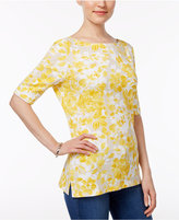 Karen Scott Petite Floral-Print Boat-Neck Top, Only at Macy's