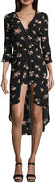 Trixxi 3/4 Sleeve Floral A-Line Dress-Juniors