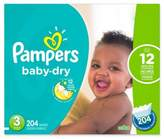 Pampers Baby DryTM 204-Count Size 3 Economy Pack Plus Disposable Diapers