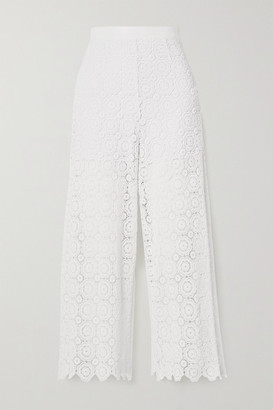 Miguelina Dana Cropped Crocheted Cotton Straight-leg Pants - White