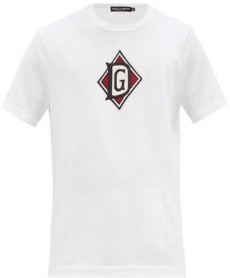 Dolce & Gabbana Monogram-embroidered Cotton T-shirt - White