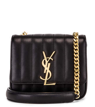 Saint Laurent Monogramme Vicky Shoulder Bag in Black | FWRD