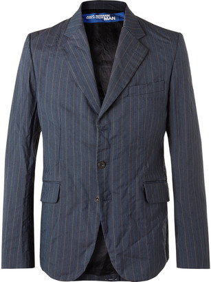 Junya Watanabe Unstructured Garment-Dyed Pinstriped Woven Suit Jacket