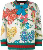 Gucci Corsage print lurex trim sweatshirt - women - Silk/Cotton/Polyamide/glass - XS
