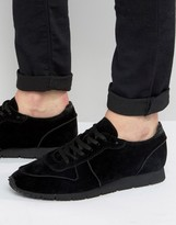 Asos Retro Sneakers In Relaxed Black Faux Suede
