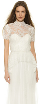 Marchesa Beaded Lace Peplum Blouse