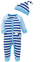 Offspring Blue Stripe Footie (Baby Boys)