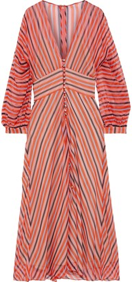Lela Rose Button-detailed Striped Silk-chiffon Midi Dress