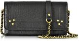 Jerome Dreyfuss Jack Black Leather Wallet Clutch w/Shoulder Strap