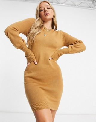 Brave Soul grunging balloon sleeve jumper dress in camel