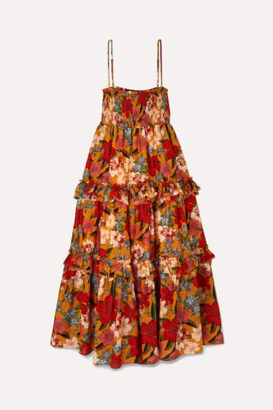Nicholas Ruffled Shirred Floral-print Cotton And Silk-blend Dress - Orange