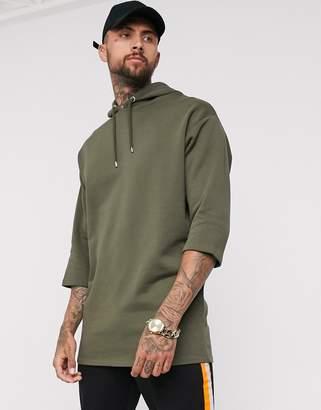 Asos Design DESIGN oversized longline hoodie with 3/4 sleeves in khaki-Green