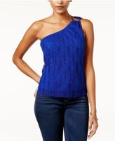 Lily Black Juniors' Lace One-Shoulder Top, Only at Macy's