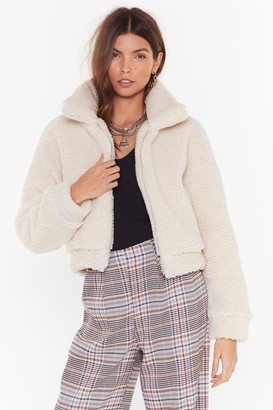 Nasty Gal Womens Cozy Little Thing Called Love Faux Shearling Jacket - white - 6